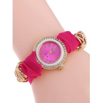 Rhinestone Velvet Quartz Analog Watch