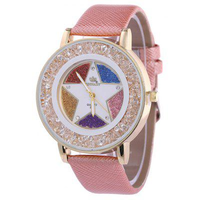 Faux Leather Rhinestone Pentagram Quartz Watch