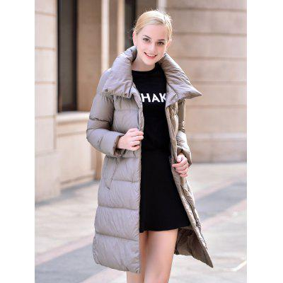 Stand-up Collar Long Down Jacket for Women