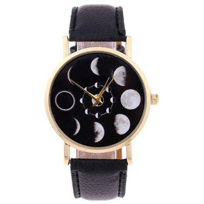 Reloj de Cuarzo de Eclipse Lunar de Faux Leather