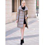 Buy Stand-up Collar Long Jacket Women M DEEP GRAY