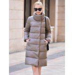 Stand-up Collar Long Down Jacket for Women - DEEP GRAY