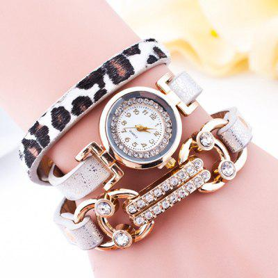 Faux Leather Velvet Rhinestone Bracelet Watch