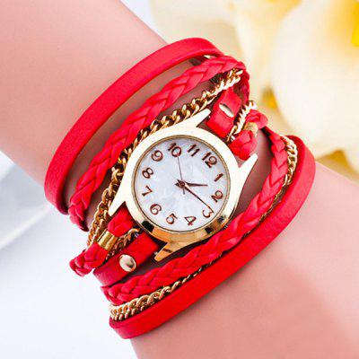 Faux Leather Braid Chain Bracelet Watch
