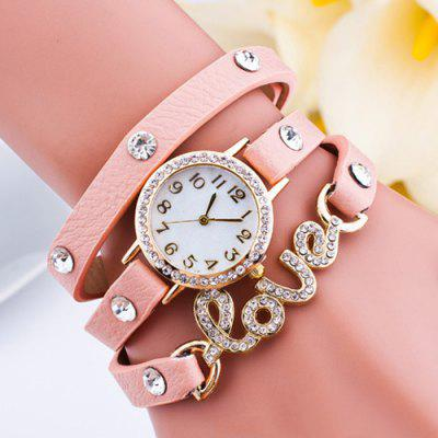 Faux Leather Rhinestone Love Bracelet Watch