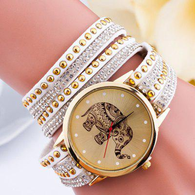 Rhinestone Elephant Rivet Layered Bracelet Watch
