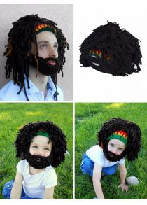 Christmas Halloween Beard Hair Shape Woolen Knitted Hat
