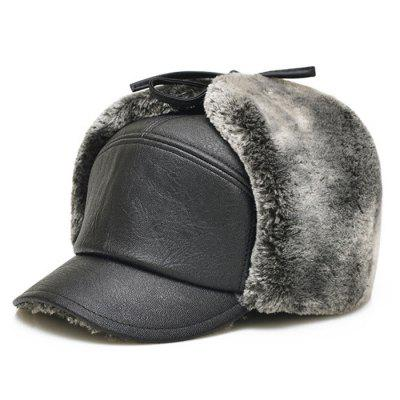Men Earmuffs PU Leather Hat