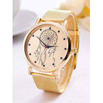Circle Floral Steel Band Quartz Watch