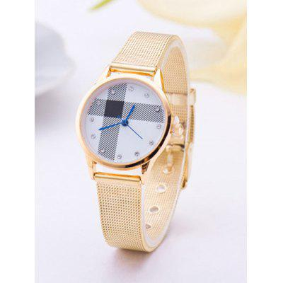 Geometric Stripe Rhinestone Quartz Watch