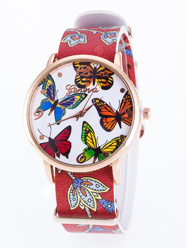 PU Leather Butterfly Quartz Watch