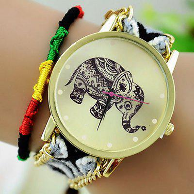 Female Elephant Quartz Wrist Watch Pull Cords Bracelet Woven Woolen