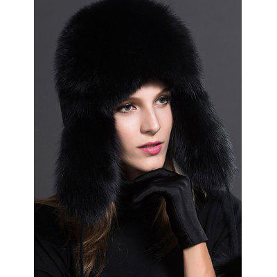 Women Winter Leather Fox Fur Hat with Earmuffs