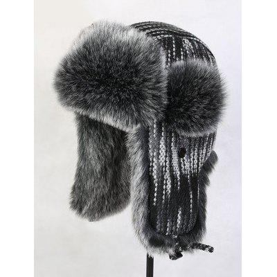 Winter Knitted Faux Fur Trim Hat