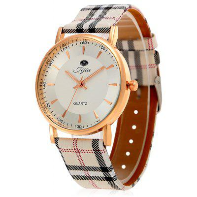 Jijia Plaid Lederband Frauen Quarzuhr