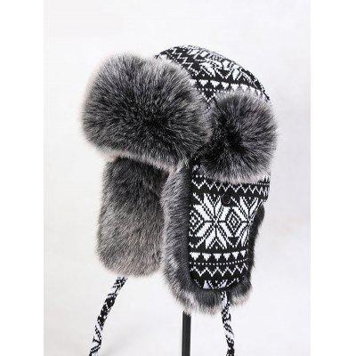 Snow Knitted Faux Fur Trim Trapper Hat