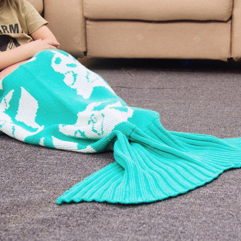 Cartoon Warm Knitted Mermaid Blanket for Kids