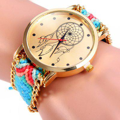 Woven Woolen Female Quartz Watch Pull Cord Bracelet