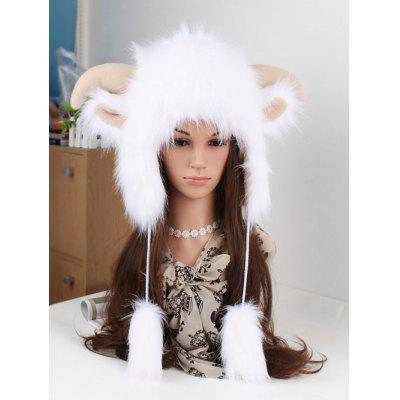 Winter Antler Faux Fur Hat with Earmuffs