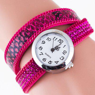 Vintage Rhinestone PU Leather Bracelet Watch