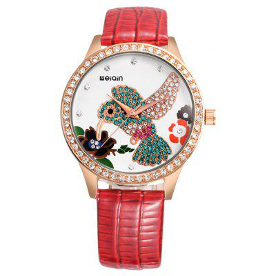WeiQin 1168 Rhinstone Hummingbird Dial Lady Quartz Watch