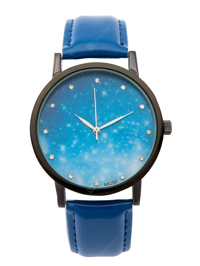 Faux Leather Rhinestone Starry Sky Watch
