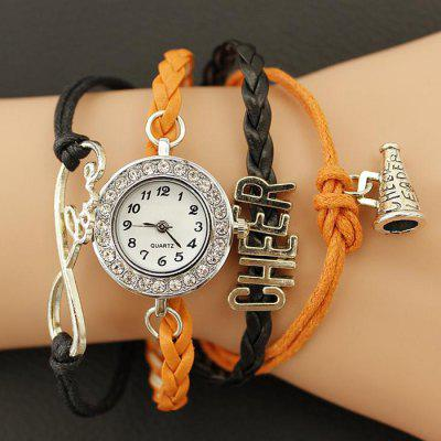DIY Woven Bracelet Contrast Color Lady Quartz Watch