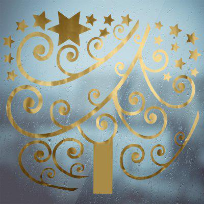 Christmas Golden Tree Bedroom Wall Stickers