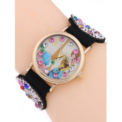 Rhinestoned Bracelet Analog Quartz Watch