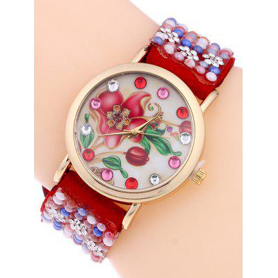 Studded Flower Analog Bracelet Watch