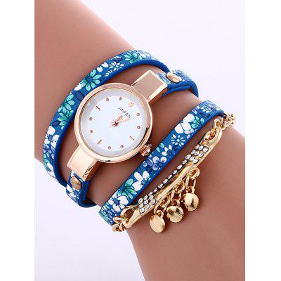 Buy LAKE BLUE Floral Printed Rhinestone Studded Layered PU Leather Watch for $5.71 in GearBest store
