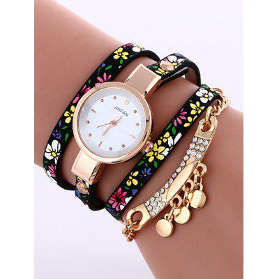 Buy BLACK Floral Printed Rhinestone Studded Layered PU Leather Watch for $5.71 in GearBest store