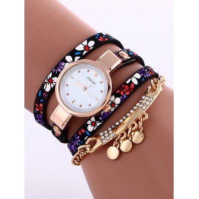 Buy ELEPHANT BLACK Floral Printed Rhinestone Studded Layered PU Leather Watch for $5.71 in GearBest store