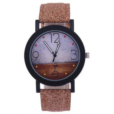 Buy BROWN Quartz Watch with Round Dial Leather Watchband for $3.41 in GearBest store