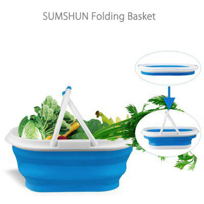 SUMSHUN Collapsible Portable Silicone Vegetable Basket for Home