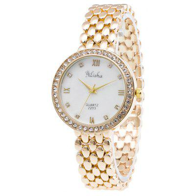 Roman Numerals Rhinestone Steel Band Watch