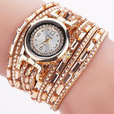 PU Leather Rhinestoned Bracelet Watch
