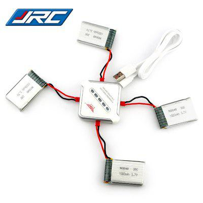 4pcs 3.7V 1000mAh Battery + SJRC Balance Charger / Cable Set