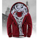 Zipper Front Plush Lining Hooded Jacket - RED