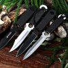 4pcs Stainless Steel Fixed Blade Knife with Storage Bag - BLACK + SILVER