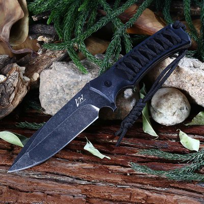 D2 Stainless Steel Fixed Blade Knife with Sheath / Rope