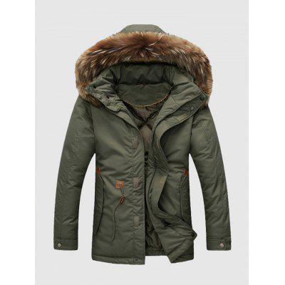 Men Drawstring Waist Winter Jacket