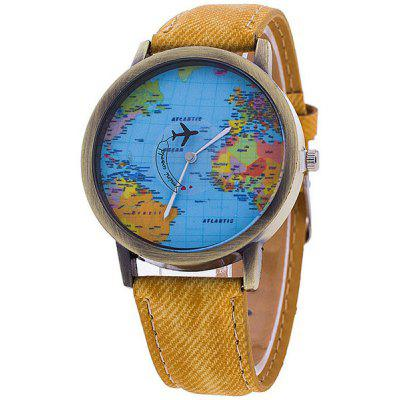 Artificial Leather Airplane World Map Watch