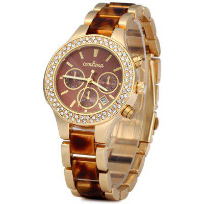 Contena Geneva Date Function Ladies Quartz Watch Diamond Round Dial Steel Strap
