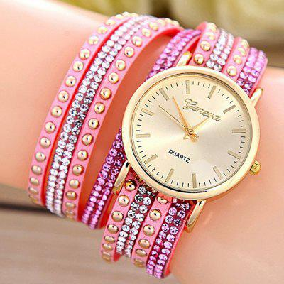PU Leather Rhinestone Rivets Bracelet Watch