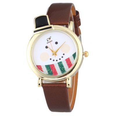 PU Leather Christmas Snowman Quartz Watch