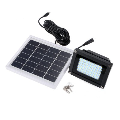 Solar Waterproof LED Flood LightOutdoor Lights<br>Solar Waterproof LED Flood Light<br><br>Battery Capacity: 4000mAh 18650 Li-ion battery<br>Battery Voltage: 3.7V<br>Charging Time: 5-8h<br>Color Temperature: 6500K<br>Features: Waterproof, Rechargeable, Light Control<br>Light Type: Outdoor Light,Solar Light<br>Luminous Flux: 450-600LM<br>Material: ABS, Aluminum<br>Optional Light Color: White<br>Package Contents: 1 x LED Flood Light, 1 x Solar Panel, 4 x Screw, 4 x Screw Holder, 1 x English Manual<br>Package size (L x W x H): 17.00 x 14.00 x 15.00 cm / 6.69 x 5.51 x 5.91 inches<br>Package weight: 0.9400 kg<br>Powered Source: Solar and Battery<br>Product size (L x W x H): 11.00 x 7.00 x 8.50 cm / 4.33 x 2.76 x 3.35 inches<br>Product weight: 0.3920 kg<br>Solar Panel: 6V, 3W<br>Total LED: 54 x SMD 3528<br>Working Time: 8h