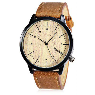 Rosivga 1244 Wood Texture Pattern Dial Unisex Quartz Watch