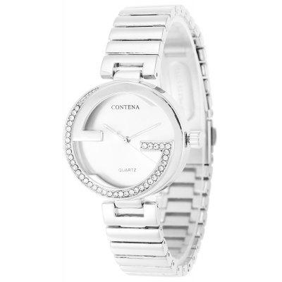 CONTENA Fashion Rhinestone Bezel Lady Quartz Watch
