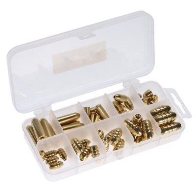 51pcs Tough Brass Fishing Bullet Sinker with Storage Box